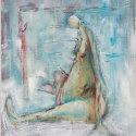 vrouw blauw 50x60 acryl op paneel