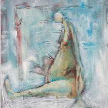 Vrouw blauw 50 x 60 cm acryl op paneel