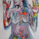 Vrouw 60 x 80 cm verschillende materialen op doek