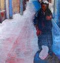 Vrouw in stad 50x40 acryl op paneel