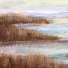 landschap 72 X 35cm acryl/paneel