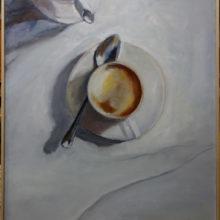 """""""koffie+pot"""" 71,5-x-99 cm oliverf/paneel"""