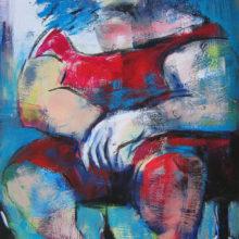 Vrouw zittend 42 x 60cm acryl op paneel