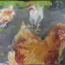 """""""kippen"""" 20x30cm olieverf op linnen"""