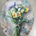 bollijst -bos-violen- olieverf op doek
