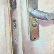deurkruk-20 x 40 cm olie op linnen