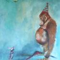 aap,muis,bij 70x100 cm olieverf/linnen