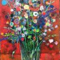 veel veel bloemen 85 x 120 gemengde techniek/paneel