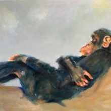 chat,chill, chimp 140x80 cm olieverf/linnen
