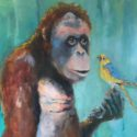 "just tell yourself ducky youre really quite lucky ""dr Seus"" 70x120cm olieverf/linnen"