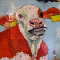 Koe rood 50 x 60 cm gemengde techniek/paneel
