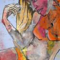 Wehkamp meisje 50 x 40 cm gemengde techniek/paneel